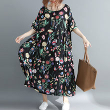 New Arrival 2019 Summer Fashion Plus Size Dress 4xl 5xl 6xl 7xl Women Floral Printed Big Swing Dress Size Loose Long Dresses(China)
