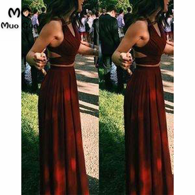 2018 Burgundy Two Pieces Gown Evening Dresses Long Chiffon Sleeveless Prom Dress For Teens Formal Evening Dress For Women
