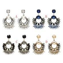 Amazing Luxury  Big Crystal Stone Pendant Earrings Fashion Inlay Rhinestone Water drop Dangle Earrings For Women Maxi Jewelry pair of charming rhinestone faux crystal water drop earrings for women