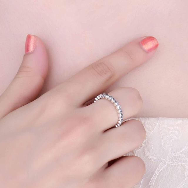 Jewelrypalace Authentic Solid 925 Sterling Silver Rings Cubic Zirconia Jewelry Eternity Ring Wedding Bands Fashion Women Gifts