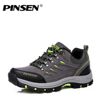 PINSEN New Men Casual Shoes Waterproof Camping Sports Shoes Trekking Climbing Mountain Non Slip Men's Outdoor Sneakers male