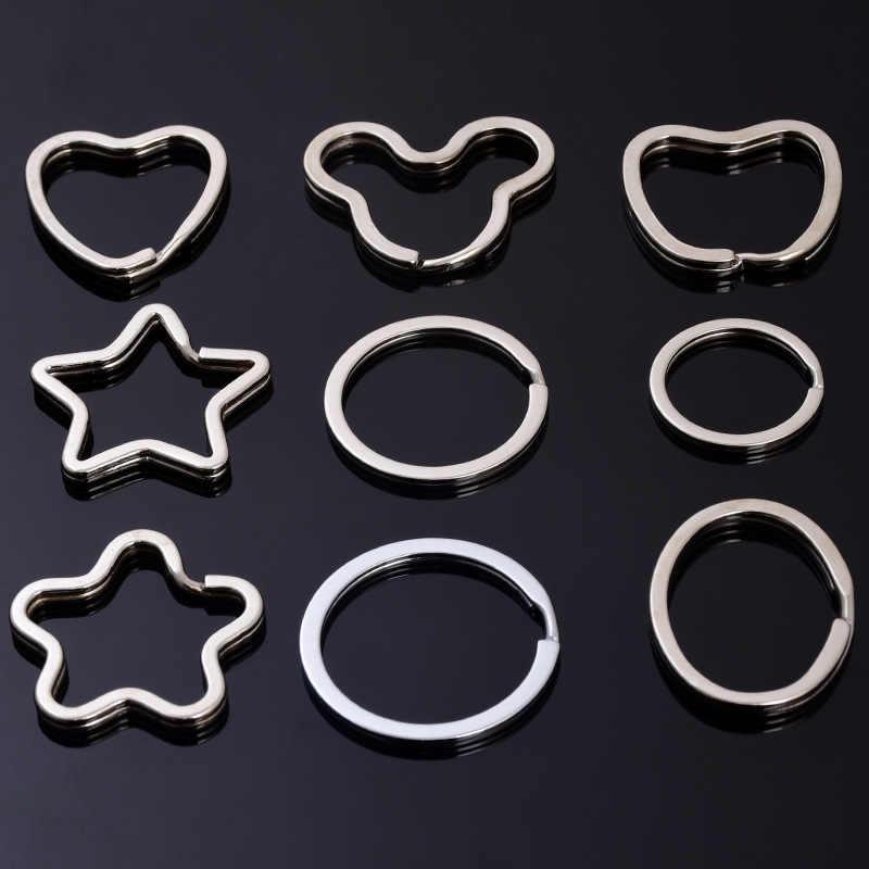 พวงกุญแจโลหะสร้างสรรค์แหวนกุญแจสแตนเลส 100pcs น่ารัก five-pointed star shape พวงกุญแจ DIY อุปกรณ์เสริม key โซ่