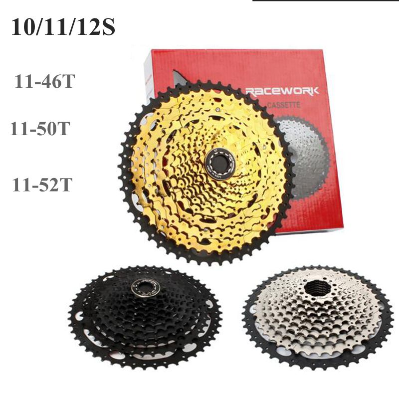 MTB Cassette 10S/11S/12S 11- 46t/50t/52T Sprockets 11 Speed Mountain Bicycle Cassette Freewheel Wide Ratio Black, Gold, Silver