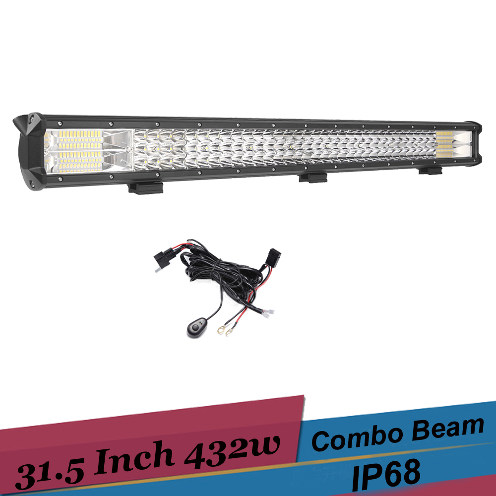 432W Offroad LED Light Bar Combo Beam Led Bar 4x4 4WD Truck SUV ATV Tractor Boat 12v 24v Driving Headlight led work light bar hello eovo 5d 32 inch curved led bar led light bar for driving offroad boat car tractor truck 4x4 suv atv with switch wiring kit