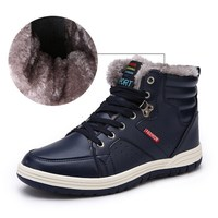 Winter Mens Boots Plush Warm Waterproof Boots Men Leather Hiking Shoes Man Outdoor Trekking Snow Ankle