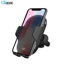 DCAE QI Быстрое беспроводное автомобильное зарядное устройство 10 Вт автоматическое инфракрасное Индукционное вентиляционное отверстие Автомобильный держатель для iPhone X 8 XS MAX XR samsung S9 S8 S7