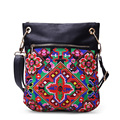 PU leather women soft embroidery bags ethnic vintage Features simple shoulder messenger bags packet female small square hangbags