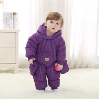 kids bear Rompers with gloves Winter autumn children newborn baby thick cute long sleeve baby climbing Solid clothes