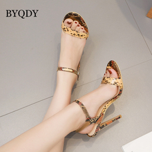 BYQDY Summer Women High Heel Sandals Snake Printing Ankle Strap Sandal Shoes Party Dress shoe Woman Patent Leather High Heels lttl women multi tassel lace up ultra high heel sandals summer platform shoes ankle strap fringed party dress sandal shoes