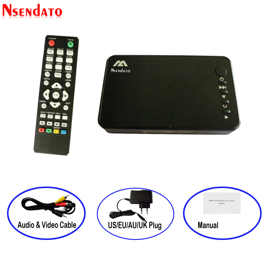 Mini multimedia Player Autoplay Media Full HD 1080 p Externo USB HDD Media Player Com HDMI VGA SD U Disco saída AV PARA MKV RMVB