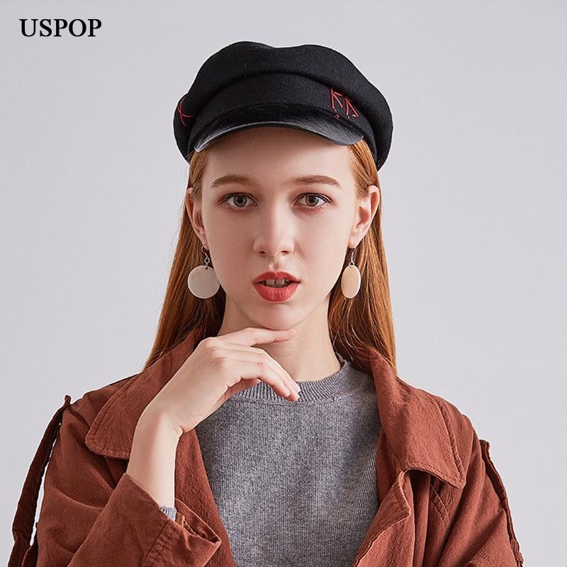 USPOP 2018 Novo chapéu de inverno mulheres moda simples carta tampas  jornaleiro tampas viseira cor sólida ad2288f5c2c