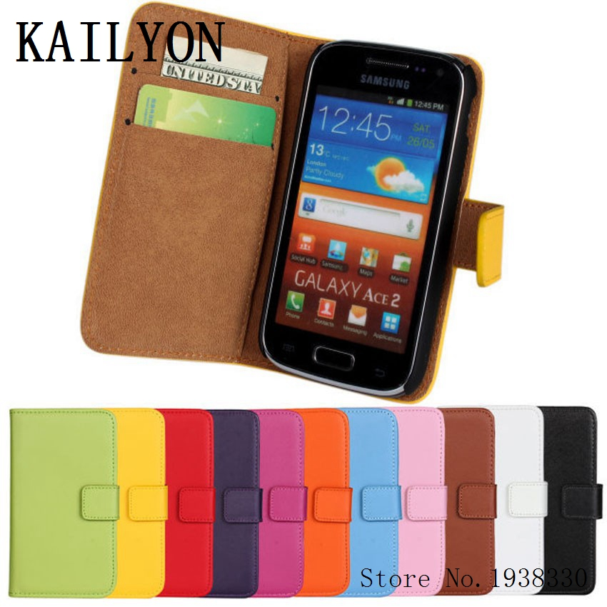 KAILYON Luxury Genuine Leather Case Cover For Samsung Galaxy Ace 2 i8160 Wallet Flip Stand Book Style Phone Cover Bags With CardKAILYON Luxury Genuine Leather Case Cover For Samsung Galaxy Ace 2 i8160 Wallet Flip Stand Book Style Phone Cover Bags With Card