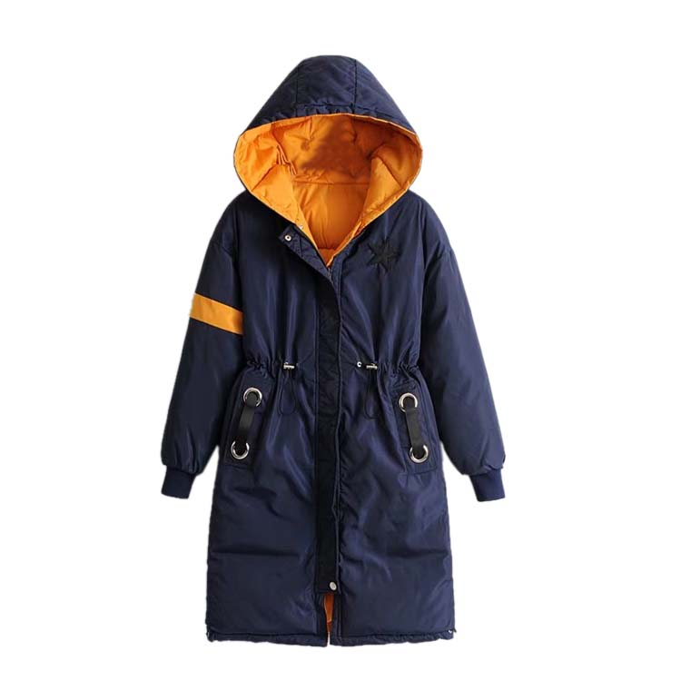 Wear windproof Hooded Jacket Coat girls long in the winter of 2017 Cotton Size on both sides of the new thickening