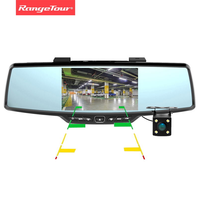 Range Tour C30 Dual Lens Rearview Car Mirror DVR Camera Full HD 1080P 4 3 Lcd