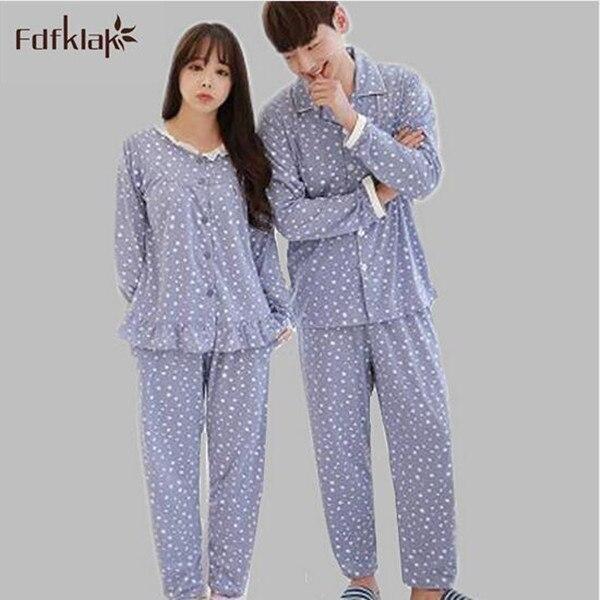 Для женщин Зимние костюмы пара Пижама корейский комплект Для женщин  хлопковые пижамы с длинными рукавами femininos 8490c36e9b73c