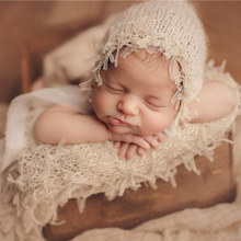 Newborn baby photography props,mohair lace wrap with matching hat,baby soft blanket for newborn photography props(40*80 cm) set of fashion color matching knitting props clothes hat for baby s photography