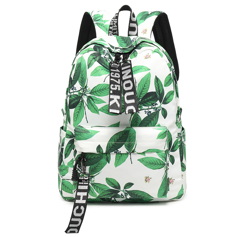 Simple Vintage Chinese Style Canvas Backpack Women Flower Printing Nylon Bag Laptop School Bags For Girls