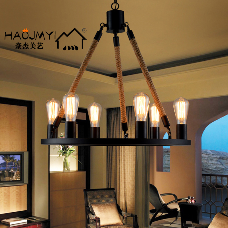 Loft American Pastoral iron rope chandelier bar retro bedroom living room lamp Nordic clothing korean princess wrought lamp iron bedroom led lamp american pastoral style living room children chandelier
