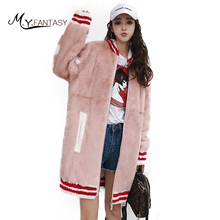 M.Y.FANSTY2017 Winter O-Neck Mink Coat Striped Pattern Real Fur Mink Coat Women Pink Causal Medium Baseball clothing Mink Coats