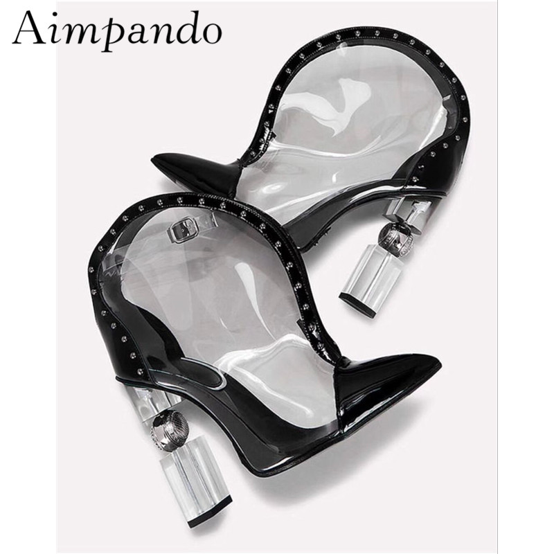 Unique Metal Crystal Strange Heel Ankle Boots Women Sexy Point Toe Buckle Black PVC Patchwork Stage