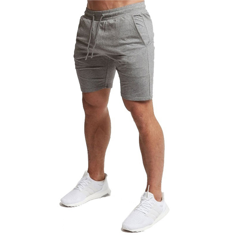 2019 New Solid Color Shorts Trunks Fitness Workout Beach Shorts Man Breathable Cotton Gym Short Trousers