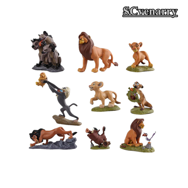 El Rey León Simba Nala Timon PVC figuras de acción juguetes clásicos mejores regalos de navidad 9 unids/set