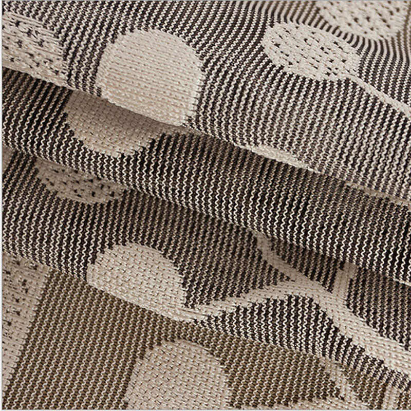 Brown White Breathable Mesh Jacquard Curtain Fabric Tulle