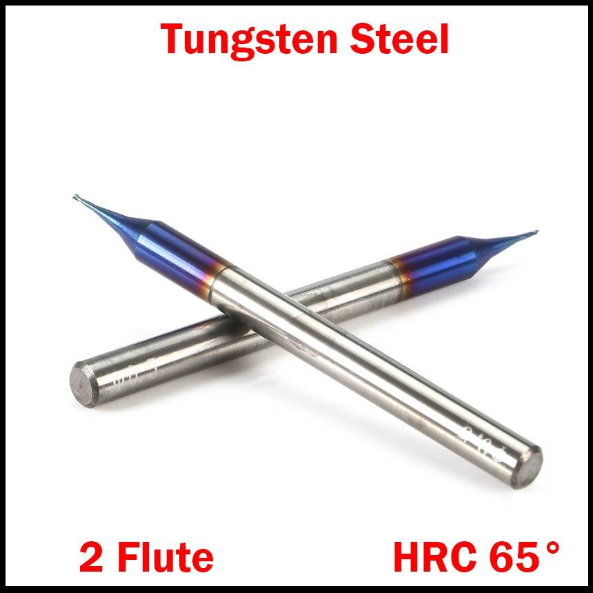 0,4mm 0,5mm 0,6mm Schneiden Rand Durchmesser Hrc65 Hartmetall 2 Flöte Micro Cnc Werkzeug Router Bit Flache Ende Mühle Fräsen Cutter Seien Sie In Geldangelegenheiten Schlau