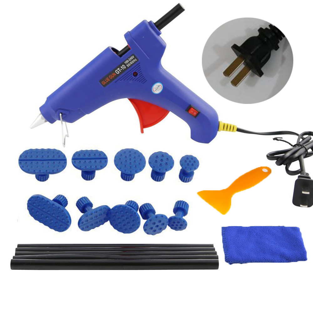 WHDZ PDR Tools Kit Dent Removal Paintless Dent Repair Tools with Glue Gun Dent Puller tabs Pulling Bridge Adhesive Hand Tool Set