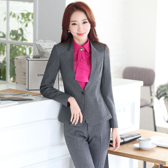 c2c84240b2817 Plus Size Autumn and Winter Professional Formal OL Styles Pantsuits For  Business Women Jackets And Pants Ladies Trousers Sets