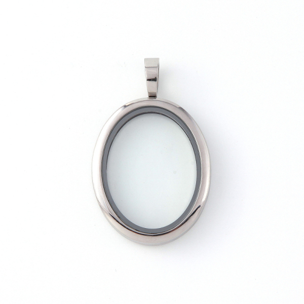 Vinnie Design Jewelry Oval Locket Magnetic Glass Stainless Steel Floating Charms Lockets 5pcs/lot Wholesale
