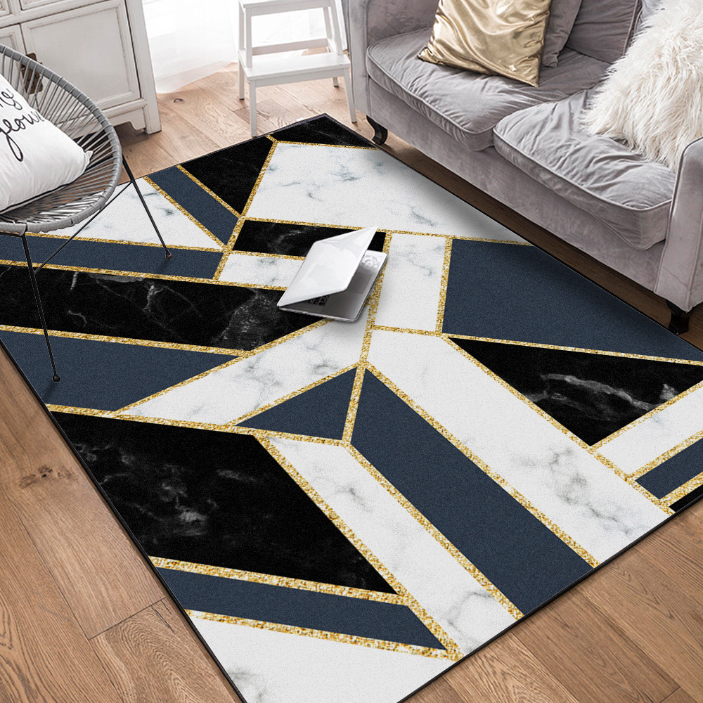 US $22.5 25% OFF|Fashion heavy metal style living room carpet Blue  geometric ins bedroom rug Black white marble gold strip floor mat  customize-in Mat ...