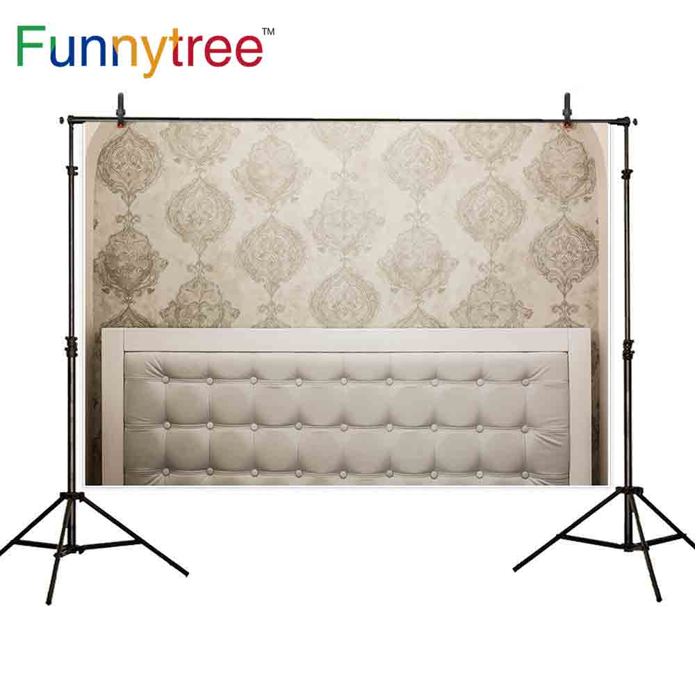 US $9.45 32% OFF|Funnytree photography backdrops headboard damask vintage  wooden latice pastel luxury interior leather photographic background-in ...