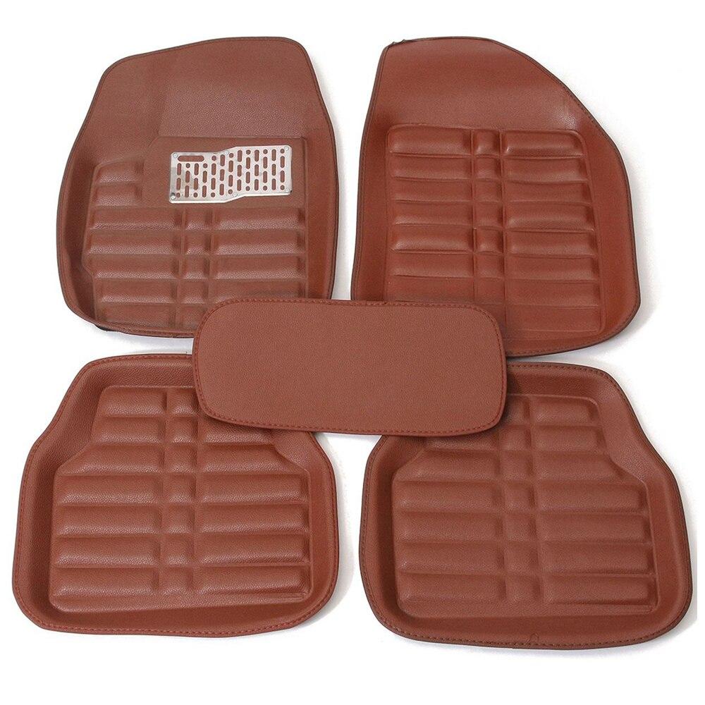 5Pcs Set Universal Car Floor Mats Front & Rear Carpet Auto Black/Brown Skidproof Mat