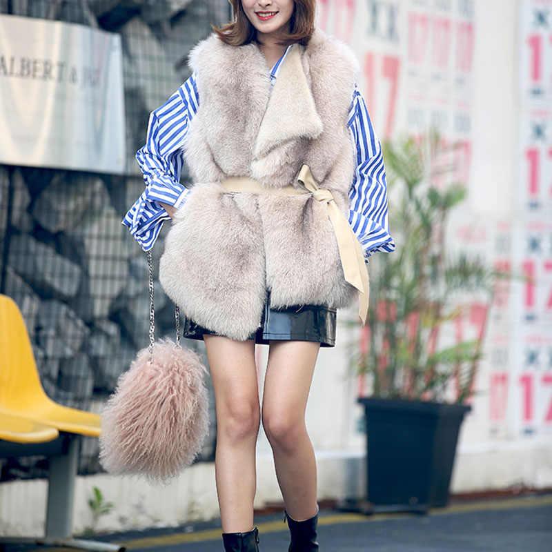 Prawdziwe futra lisa kamizelka zima kobiety ubrania 2018 szczupła bez rękawów futra lisa kamizelki płaszcze zimowe kurtki Manteau Femme Hiver ZL558
