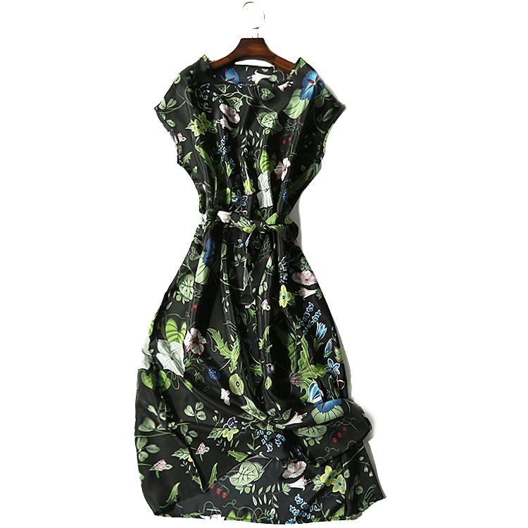 O Femmes Plus Vacances Élégante Réel La Robes Noir Naturelle D'été Vintage De Casual Taille Soie Longue Robe Cou wrrIYOq
