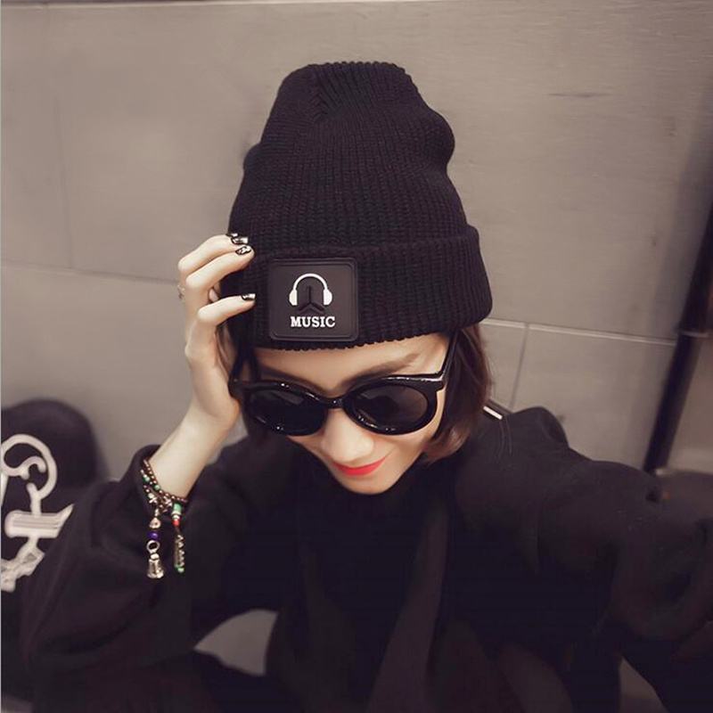 Fashion Cap Women Casual Music Hats Knitted Wool Skullies Beanie Hat Warm Winter Hat for Women women cap skullies