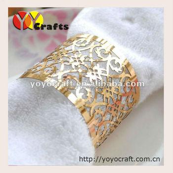 sample TW002 eco-friendly gold metallic paper cheap bulk napkin ring