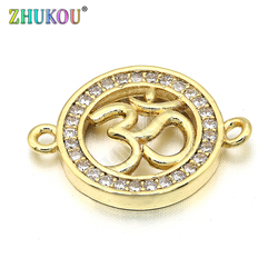 14*19mm Brass Micro Pave Cubic Zirconia Round Connectors Charms, Mixed Color, Hole: 1mm, Model:VS239