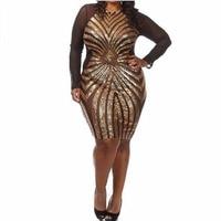 Women Dress Sexy Geometric Pattern Dress Plus Size Long Sleeve Dress Paillette Dress