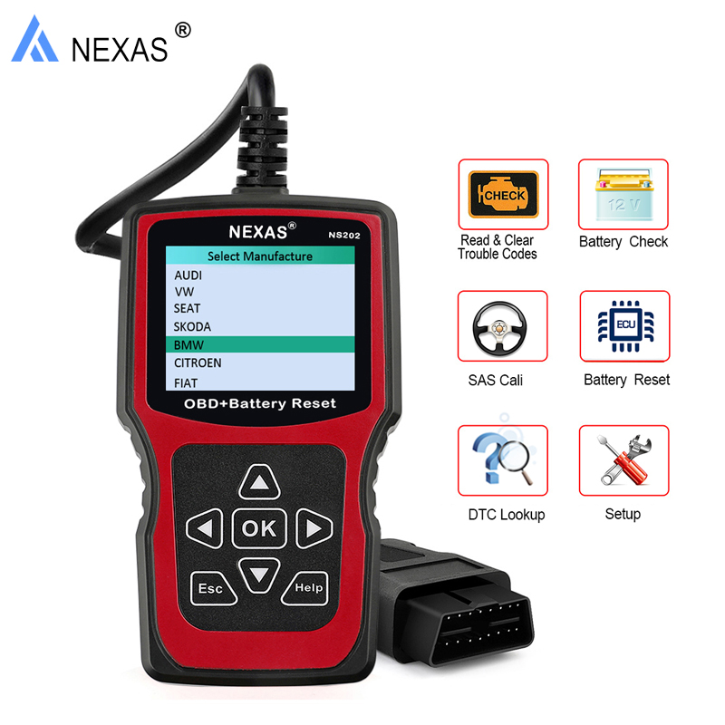 NEXAS NS202 OBD2 Auto Car Diagnostic Tool Code Reader Engine Scanner SAS Battery Reset Diagnostic-Tool obd2 for BMW Audi VW SEAT elm327 usb vehicle obd 2 scanner tool car diagnostic scanner