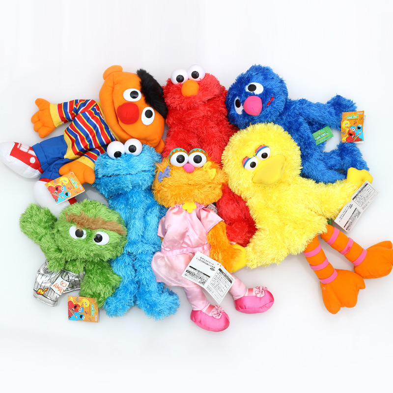 Us 11 05 7 Off Sesame Street Elmo Big Bird Cookie Monster Oscar The Grouch Ernie 35cm Plush Toys Cartoon Stuffed Dolls Hand Puppet Gift In Stuffed