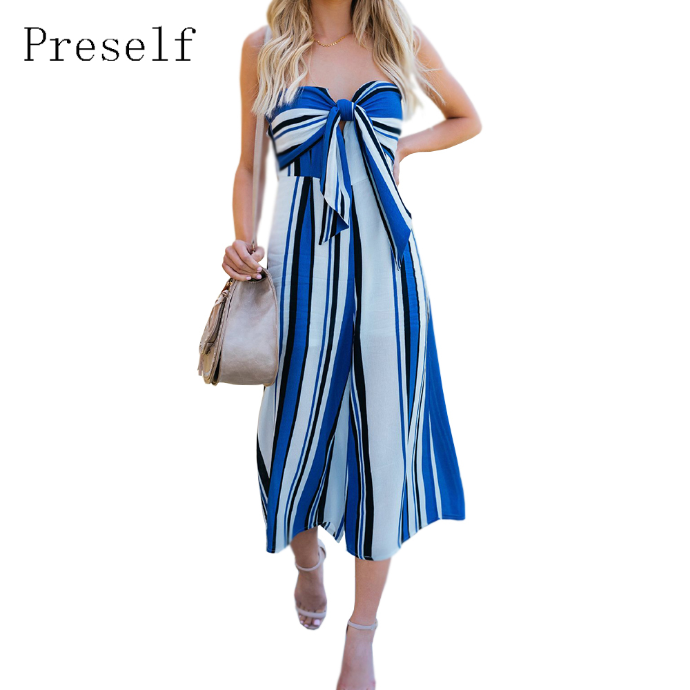Preself 2018 New Women Jumpsuits Sexy Calf-Length Pants Striped Jumpsuit Rompers