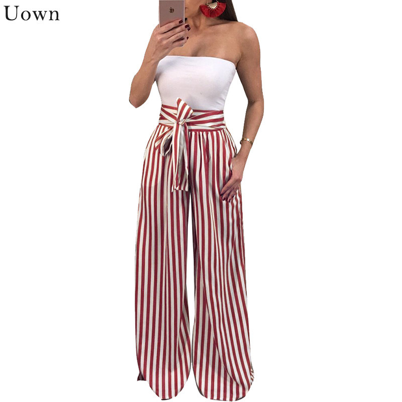 High Waisted   Wide     Leg     Pants   Women Trousers 2017 Autumn Elegant Black Casual Striped Bow Tie Drawstring Loose Palazzo   Pants