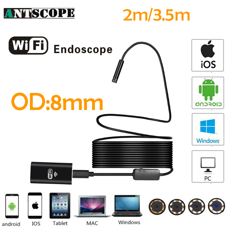 Antscope Wifi Endoscope Camera Android 720P Iphone Borescope Hard Tube Waterproof Camera Endoscopio Semi Rigid iOS Endoscope 35 серьги коюз топаз серьги т703026615