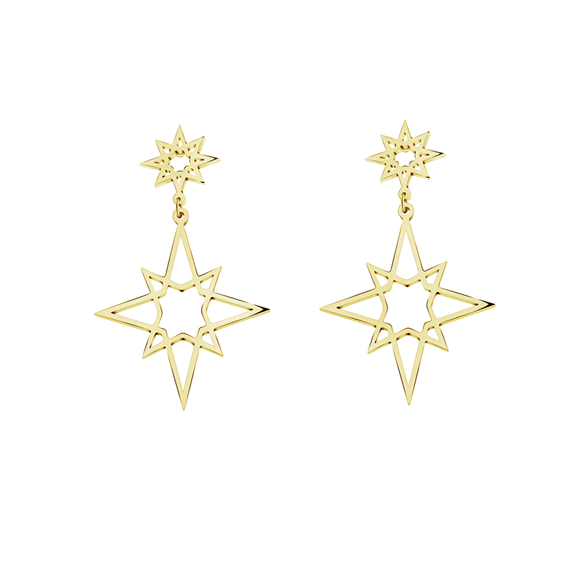 2018 Fashion Vintage Star Drop Earrings Hollow Out Pentagram Ear Jewelry Gold Color Stainless Steel Women's Hanging Brincos