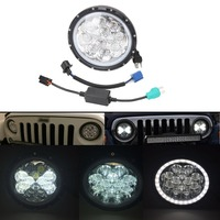 7 Round 60W LED Headlight Driving Light Combo Beam LED Atmosphere Light For Jeep Wrangler JK