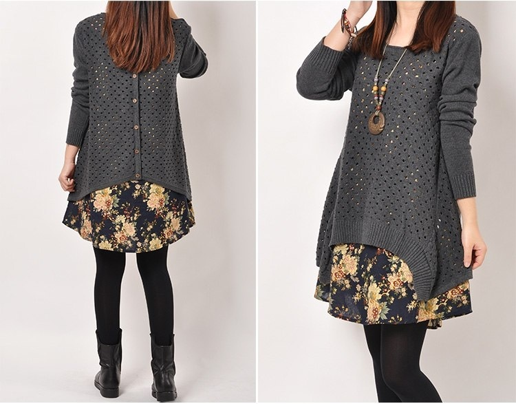 Autumn Winter Women shirt Plus Size Knitted Two-piece suit blouse Casual Print Patchwork Pullover Sweater Tops 38
