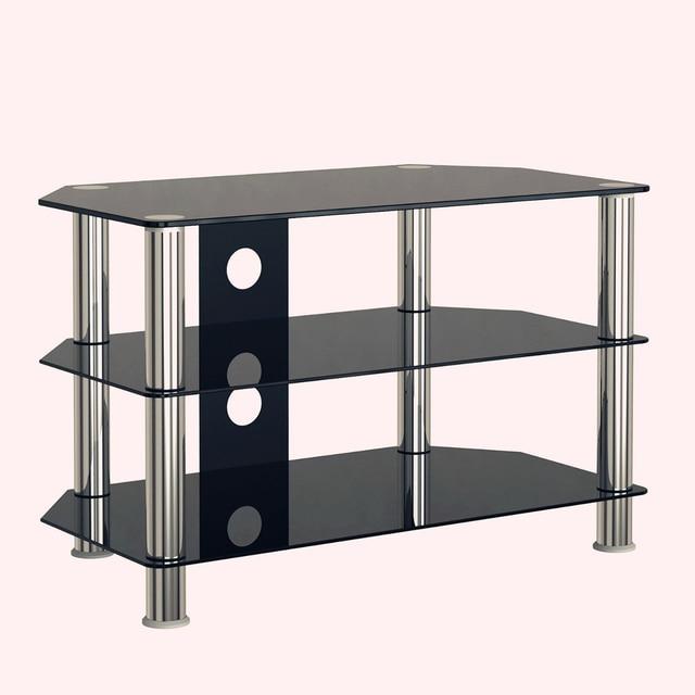 Tv Stand Modern Black 5mm Tempered Glass Stainless Steel 3 Shelf