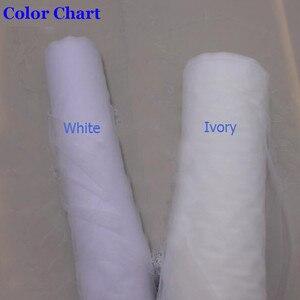 Image 2 - Echte Foto S Elegant Gedeeltelijke Lace Zijde Korte Wedding Veil Een Layer Wit Ivoor Bridal Veil met Kam Veu de Noiva